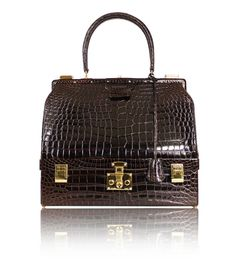 Hermes Shiny Crocodile Porosus Sac Mallette Steele Handbag Rare – Garo Luxury