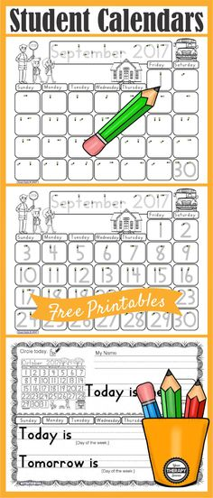 calendar work printables from your therapy source