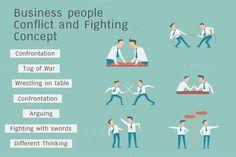ฺBusiness conflict and fighting by Smiley Creative on @creativemarket