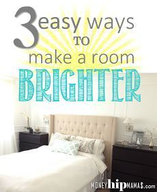 Great Post! Brighten Up a Room in Three Easy (and Cheap!) Steps: Master Bedroom Makeover (Part 1/3). Bright white bedroom. DIY Upholstered headboard. White bed. White rug.