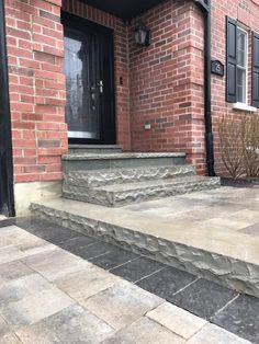 Home entryway with Banas Stone Steps and flagstone porch. Call us for a free estimate Front Door Landscaping, Front Yard Landscaping, Backyard Patio, Front Porch Steps, Front Walkway, Stone Porches, Stone Steps, Steps Design, Entrance Design