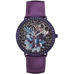 Guess Floral Design Leather Watch (7.155 RUB) ❤ liked on Polyvore featuring jewelry, watches, purple, purple jewelry, guess wrist watch, leather jewelry, guess jewelry and floral watches