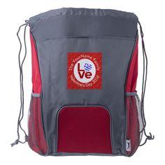 Greek or Hellenic LOVE White on Red Drawstring Backpack