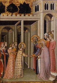 1388, Incoronazione della Vergine, Bartolo di Fredi. La fanciulla vestita di rosa sullo sfondo ha un abito morbido, dotato di tasche./ 1388. Coronation of the Virgin, Bartolo di Fredi
