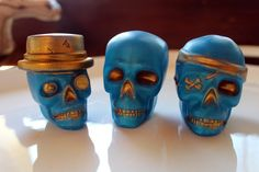 SKULL SOAPS SET of 3 Pirate Pete Steampunk Joe by thecharmingfrog