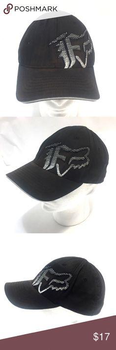 7d0eb7c3ccad Fox Racing Hat Grafitti Logo Motorcross Flex Fit Fox Racing Black with Gray  White Embroidered Graffiti