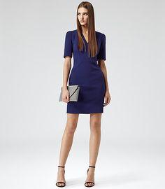 Hailie Cobalt V-neck Bodycon Dress - REISS