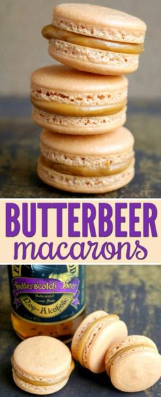 Butter Beer Macarons Recipe for Harry Potter Fans - Harry Potter Butter Beer Mac . - Butter Beer Macarons Recipe for Harry Potter Fans – Harry Potter Butter Beer Macarons Recipe Macaron Filling, Macaron Flavors, Harry Potter Desserts, Harry Potter Baking Recipes, Harry Potter Butterbeer, Harry Potter Cupcakes, French Macaroon Recipes, French Macaron, French Desserts