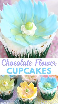 Make chocolate flower cupcakes the easy way! All you need are some melted candy coating and a paintbrush to make these gorgeous flower cupcakes, perfect for spring! Cake Decorating Videos, Cake Decorating Techniques, Cookie Decorating, Russian Decorating Tips, Cake Decorating Piping, Candy Melts, Food Cakes, Car Cakes, Cupcake Recipes