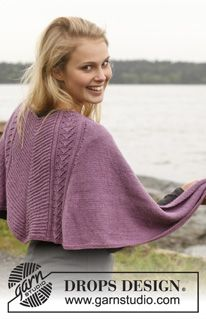 """Free pattern - Knitted DROPS shawl with lace and textured pattern in """"BabyAlpaca Silk"""". ~ DROPS Design"""