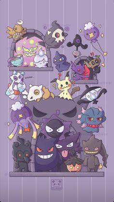 Ghost Type Pokemon, Black Pokemon, All Pokemon, Pokemon Stuff, Cute Pokemon Wallpaper, Wallpaper Iphone Cute, Cute Cartoon Wallpapers, Cute Animal Drawings Kawaii, Cute Drawings
