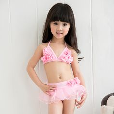 21c75ade52ce7 2017 Hot Sale Girls Bikini Set Baby Girl Lovely Lace Swimsuit With Hap  Children Beach Wear Traveling Hot Spring Swimwear