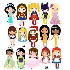 Cute Disney and others female characters. Walt Disney, Cute Disney, Disney Art, Disney Pixar, Disney Characters, Female Characters, Felt Dolls, Paper Dolls, Cute Clipart