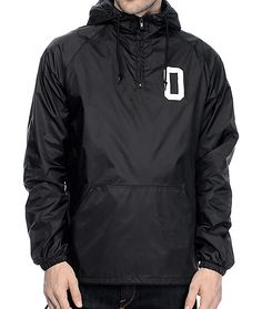 be6c7d733 Complete your athletic street style with the Collegiate O black anorak  jacket from Obey. The