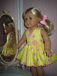 Sleeveless Yellow  Dress made to fit 18 inch American Girl Doll