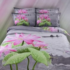 QiaoShang 4PCS Queen Size 100% Cotton Duvet Cover Sets Flat Sheet Pillowcase 3D Lotus Flowers Print Bedding Set