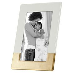 """4""""x6"""" Ivory Ceramic with Bronze Accents Frame - Threshold™ : Target"""