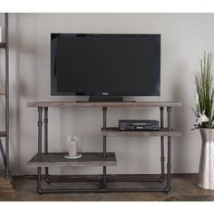 Somette Bombay Antique Reclaimed Distressed 3-Shelf Media Console