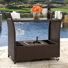outdoor patio serving carts