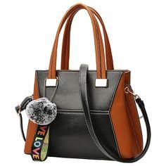 e3edfa35679 Click image to buyt  Patchwork Women Handbag Contrast Color High Quality Bag  PU Leather Female Handbag Large Capacity Corssbody Bag Mujer Totes - - View  the ...