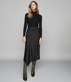 Reiss Aspen - Satin Slip Skirt in Black, Womens, Size 4 Black Skirt Outfits, Winter Skirt Outfit, Casual Dress Outfits, Trendy Outfits, Fashion Outfits, Look Fashion, Trendy Fashion, Reiss Fashion, Affordable Fashion