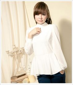 Patchworking Lace Sleeve Women's Nip Waisted Flouncing Top White on BuyTrends.com, only price $11.67