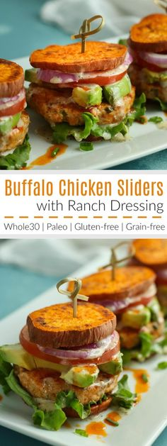 Buffalo wings meets sweet potato fries in these Buffalo Chicken Sliders! Serve with sliced onions, tomato, leaf lettuce and avocado, if desired. | The Real Food Dietitians | http://therealfoodrds.com/buffalo-chicken-sliders/