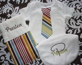 CUSTOM Handsome 3 piece baby boy gift set. Onesie, Personalized Burp Cloth and Bib. Lots of fabrics and fonts to choose from.  Custom made.. $28.00, via Etsy.