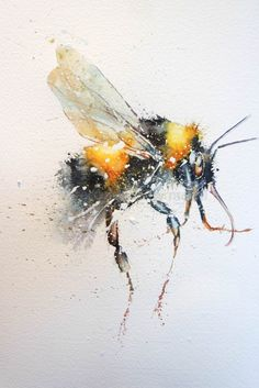 Bee Happy – watercolours by rachel Bee Painting, Watercolor Painting Techniques, Painting & Drawing, Watercolor Animals, Watercolor Art, Bee Pictures, Bee Drawing, Bug Art, Bee Tattoo