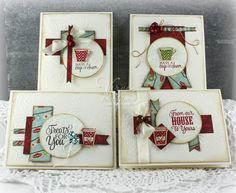 Handmade card set by Julee Tilman using the Holiday Treats set from Verve and the VLV December 2014 One Sheet Wonder template. #vervestamps #vlvsketches #coffee