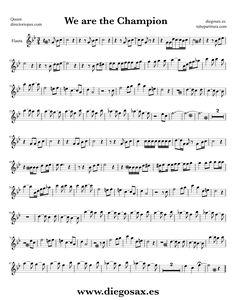 Partitura de We are the Champions para Flauta Travesera, flauta dulce y flauta de pico Queen Sheet Music Flute and Recorder Music Score We are the Champions