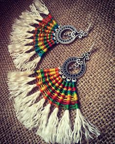 Excited to share the latest addition to my shop: Macrame earrings native African inspiration Ethnic Dangle Cavandoli Stylish Boho Chic Tribal Thread Multicolor Textile Jewelry micromacrame Macrame Earrings, Tribal Earrings, Tassel Jewelry, Textile Jewelry, Fabric Jewelry, Diy Earrings, Tribal Jewelry, Jewellery, Handcrafted Jewelry