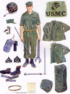 Basic crewman uniforms and maintenance equipment, 1967-68