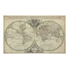 Vintage map of the world. Circa 1691.