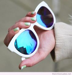 Mint, white manicure - also love those sunglasses