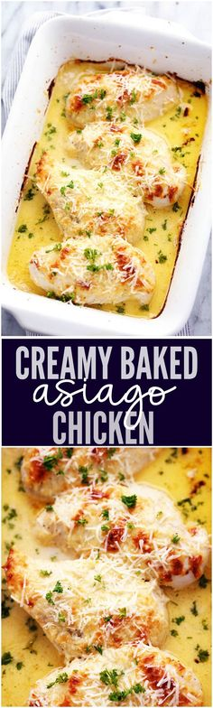 An amazingly creamy baked chicken with asiago cheese inside. It comes together quickly and will be loved by the entire family!