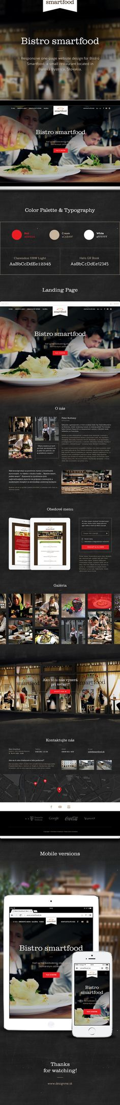 Responsive one-page website design for Bistro Smartfood, a small restaurant located in Banská Bystrica, Slovakia.