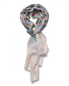 Merino-Silk Blend Banded Scarf in Multi-Colour - Qind Design Blanket Scarf, Scarves, Colour, Silk, Band, Fabric, Stuff To Buy, Design, Fashion