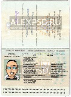 Cyprus passport - ALEXPSD Passport Template, Cyprus, Psd Templates, Photoshop, Author, Names, Writers