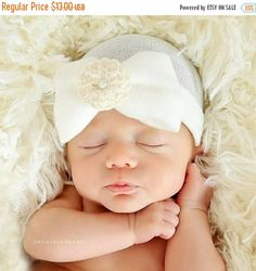 2d5274e2681 Newborn Hat Our Signature Hat! Baby s 1st Keepsake! With Pretty Bow Flower    Pearl. The Mary. Choice of Flower