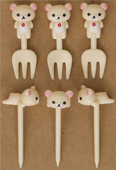 Rilakkuma white bear food picks fork for Bento Lunch Box