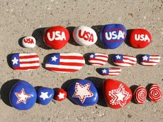 of July Party Ideas with the Blue, Red and White Pride that would be perfect when you& in charge to host the fourth of July party this year. One of the most celebrate event of every country would be& Flag Painting, Pebble Painting, Pebble Art, Stone Painting, 4. Juli Party, 4th Of July Party, Fourth Of July, Stone Crafts, Rock Crafts
