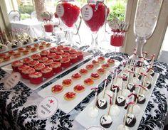 Red, black, and white themed bridal shower dessert bar