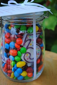 Age with candy jar or #1 something (use a 1 candle)