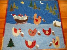 cute winter chickens quilt, from la passion au bout des doigts blog