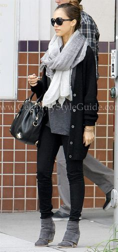 jessica alba...great look ~ Love leggings and boots, now I just need those long legs.