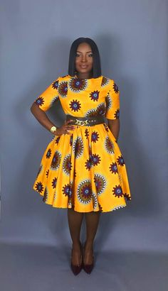 Valerie flared dress is a African print and fit flare dress that is flattering on a variety of figures. Try this short sleeve, yellow version on hot Ankara for size! The dress is bent through the bust and sleeves, and flares in a full circle - Best African Dresses, Latest African Fashion Dresses, African Print Dresses, African Attire, African Dress Patterns, Ankara Dress Styles, African Fashion Traditional, African American Fashion, African Print Fashion