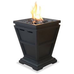 Create a comfortable, stylish space outdoors with this Uniflame ceramic tile LP gas column fire pit. This slate black fire pit features faux stone construction.