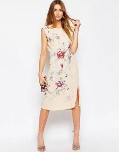 ASOS PREMIUM Embroidered Sleeveless Column Dress
