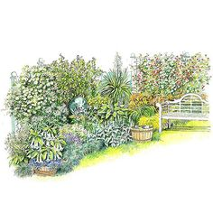 Moon Garden.  Nighttime is the right time to enjoy a garden of bright whites, fragrant blooms, and a comfortable seat.